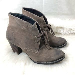 Indigo Brown Leather Heeled Ankle Boots